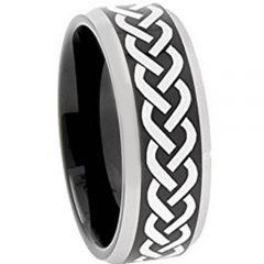 COI Tungsten Carbide Celtic Beveled Edges Ring-TG3109AA