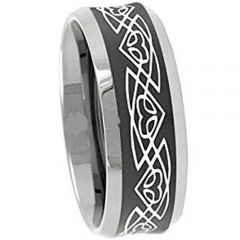 COI Tungsten Carbide Celtic Beveled Edges Ring-3111