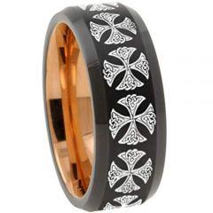 COI Tungsten Carbide Black Rose Cross Beveled Edges Ring-TG3147
