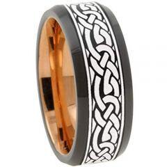 COI Titanium Black Rose Celtic Beveled Edges Ring-3156