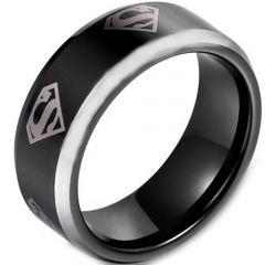 COI Titanium Black Silver SuperMan Beveled Edges Ring-JT3161