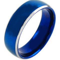 COI Tungsten Carbide Blue Silver Beveled Edges Ring-TG3810