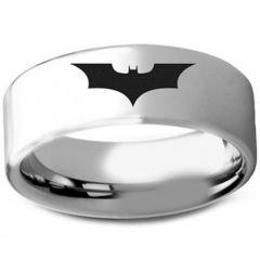 COI Titanium Batman Pipe Cut Flat Ring-3236