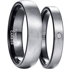COI Tungsten Carbide Black Silver Dome Court Ring-TG3291