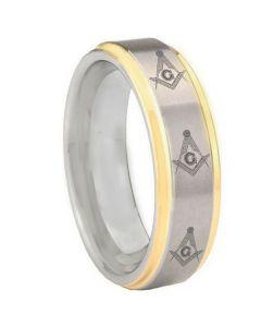 COI Tungsten Carbide Masonic Step Edges Ring-TG3303BB