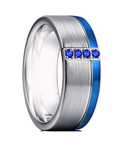 COI Titanium Ring With Created Sapphire-3316