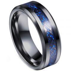 COI Titanium Black Blue Dragon Beveled Edges Ring-3354