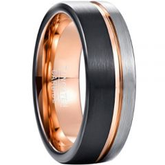 COI Tungsten Carbide Black Rose Offset Groove Ring-TG3356