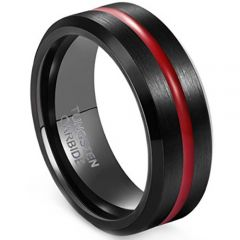 COI Tungsten Carbide Black Red Center Groove Ring-TG3380