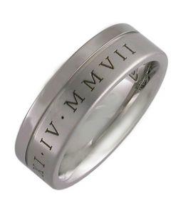 COI Tungsten Carbide Ring With Custom Roman Numerals-TG3448