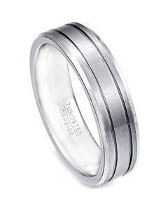 COI Tungsten Carbide Double Grooves Beveled Edges Ring-TG3457