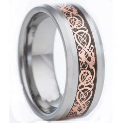 COI Titanium Silver Rose Dragon Beveled Edges Ring-3512