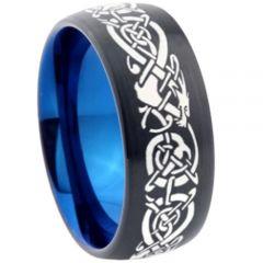 COI Titanium Black Blue Dragon Dome Court Ring-355