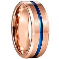 COI Tungsten Carbide Blue Rose Center Groove Ring-TG3589