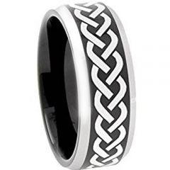 COI Titanium Black Silver Celtic Beveled Edges Ring-3600