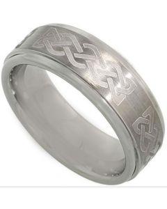 COI Tungsten Carbide Celtic Step Edges Ring-TG3621BB