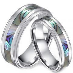 COI Tungsten Carbide Abalone Shell Step Edges Ring-TG3635