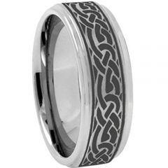COI Tungsten Carbide Celtic Step Edges Ring-TG3639