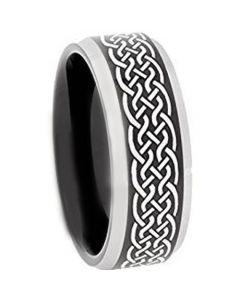 COI Tungsten Carbide Celtic Beveled Edges Ring-TG3651