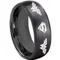 COI Black Titanium Superman Wonder Woman Ring-4050
