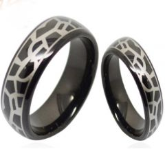 COI Black Tungsten Carbide Snake Skin Dome Court Ring-TG3687