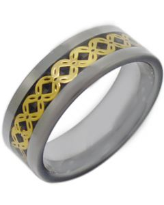 COI Tungsten Carbide Celtic Inlays Ring With Carbon Fiber-3796