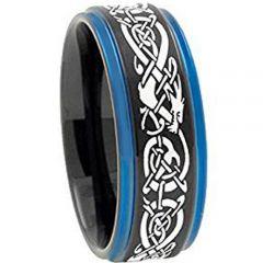 COI Tungsten Carbide Black Blue Dragon Step Edges Ring-TG3797