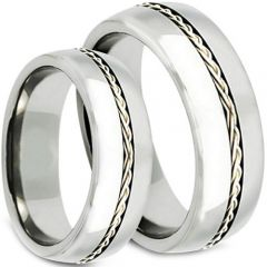 COI Tungsten Carbide Cable Dome Court Ring-TG3798