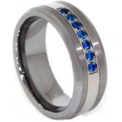 COI Titanium Beveled Edges Ring With Created Blue Sapphire-3813