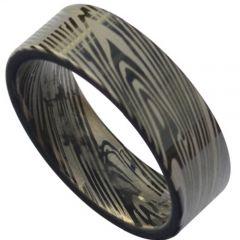 COI Black Titanium Damascus Pipe Cut Flat Ring-3832