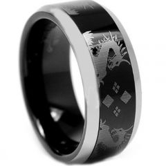 COI Titanium Black Silver Dragon Beveled Edges Ring-3841