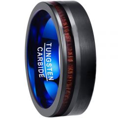 COI Tungsten Carbide Black Blue Offset Wood Ring-TG3901