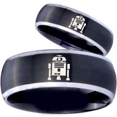 COI Tungsten Carbide Black Silver R2D2 Beveled Edges Ring-3918