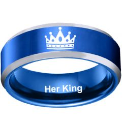 COI Tungsten Carbide Her King Beveled Edges Ring-TG4708