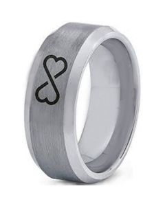 COI Tungsten Carbide Infinity Heart Beveled Edges Ring-TG4003