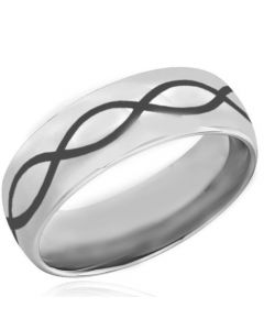 COI Tungsten Carbide Infinity Dome Court Ring-TG4036