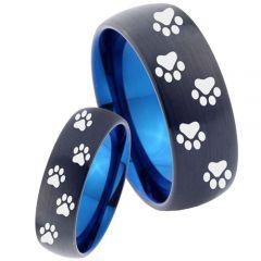 COI Titanium Black Blue Paws Track Dome Court Ring-4038