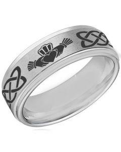 COI Tungsten Carbide Mo Anam Cara Celtic Ring-TG4055