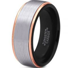 COI Tungsten Carbide Black Rose Step Edges Ring-TG4075
