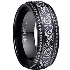 COI Black Titanium Dragon Ring With Cubic Zirconia-4076