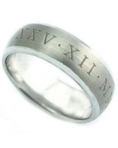 COI Tungsten Carbide Ring With Custom Roman Numerals-TG4076