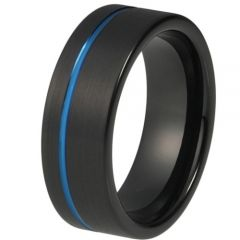 COI Tungsten Carbide Black Blue Offset Groove Pipe Cut Flat Ring-TG4196