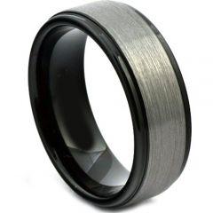 COI Titanium Black Silver Step Edges Ring-4084