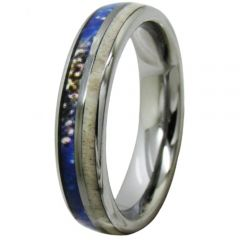 COI Tungsten Carbide Deer Antler & Blue Wood Dome Court Ring-TG2064