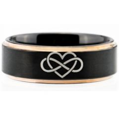 COI Tungsten Carbide Black Rose Infinity Heart Ring-TG4115