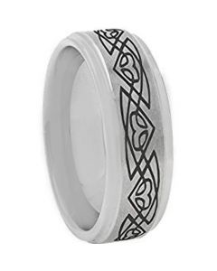 COI Tungsten Carbide Celtic Step Edges Ring-TG4117AAA
