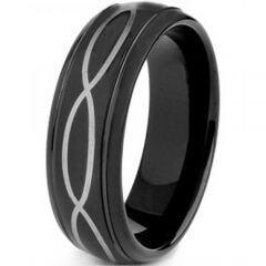 COI Black Tungsten Carbide Infinity Step Edges Ring-TG4126