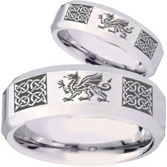 COI Tungsten Carbide Celtic Dragon Beveled Edges Ring - TG4131BB