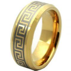 COI Gold Tone Tungsten Carbide Greek Key Beveled Edges Ring-4185