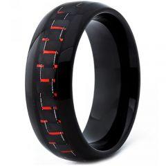 COI Black Titanium Carbon Fiber Dome Court Ring-JT3397
